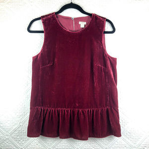 [J. Crew] Velvet Burgandy Tank with Ruffled Skirt